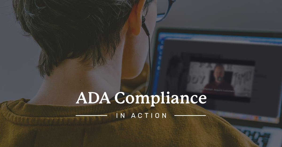 Image of person at laptop with headphones in, enjoying ADA compliance tool